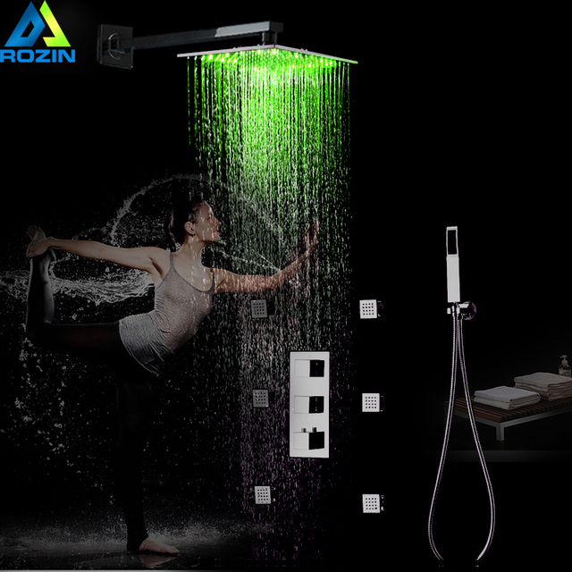 "Thermostatic Mixer Shower Faucet Concealed LED light 12 ""Rainfall Shower Column Brushed Nickel SPA Massage Jet with Handshower"