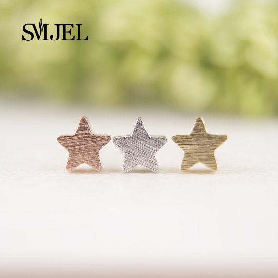 SMJEL New Fashion Minimalist Brushed Star Stud Earrings for Women Tiny Matte Star Earing Pendients Party Gifts s025