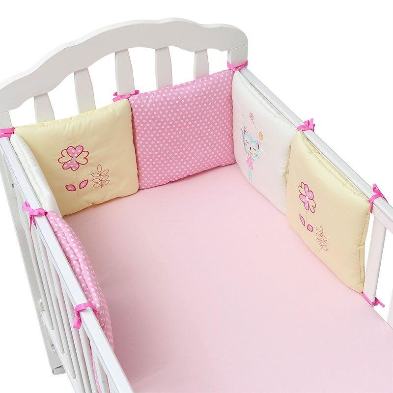 6 шт./компл. кроватка бампер подушка для младенцев постельные принадлежности безопасности из дышащего материала - Цвет: pink cat and flower