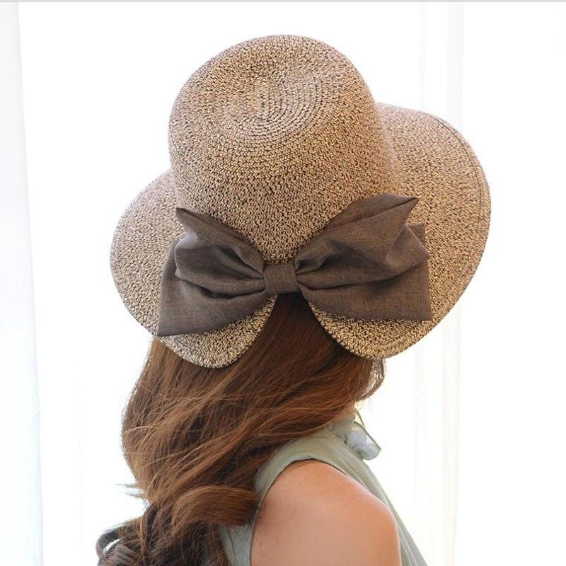 Parent-child Straw Solid Ladies Cap Adjustable Bow Decoration Sun Hat Snapback Outdoor Sports Folding Gorras Women Sun Bonnet