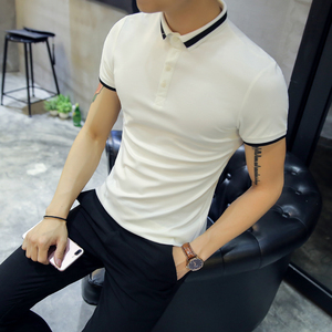 Image 2 - High Quality Polo Shirt Men Summer 2020 Slim Fit Men Polo Shirt Short Sleeve Casual Business Polo Homme Black/White 3XL M