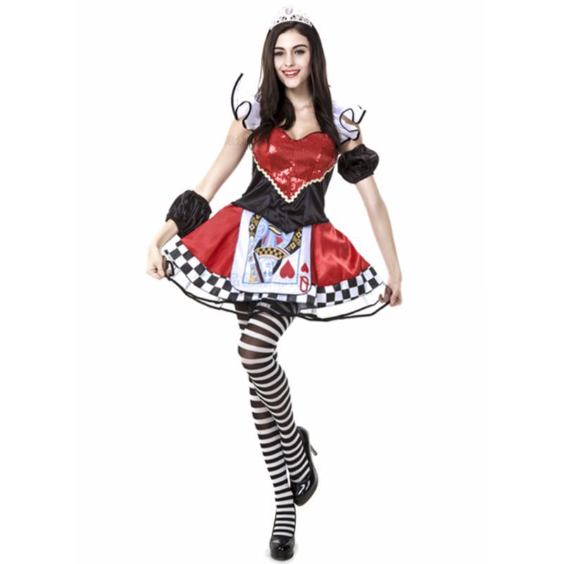 Queen of hearts Halloween costumes for woman victorian medieval dresses cosplay store disfraces adultos fantasias femininas