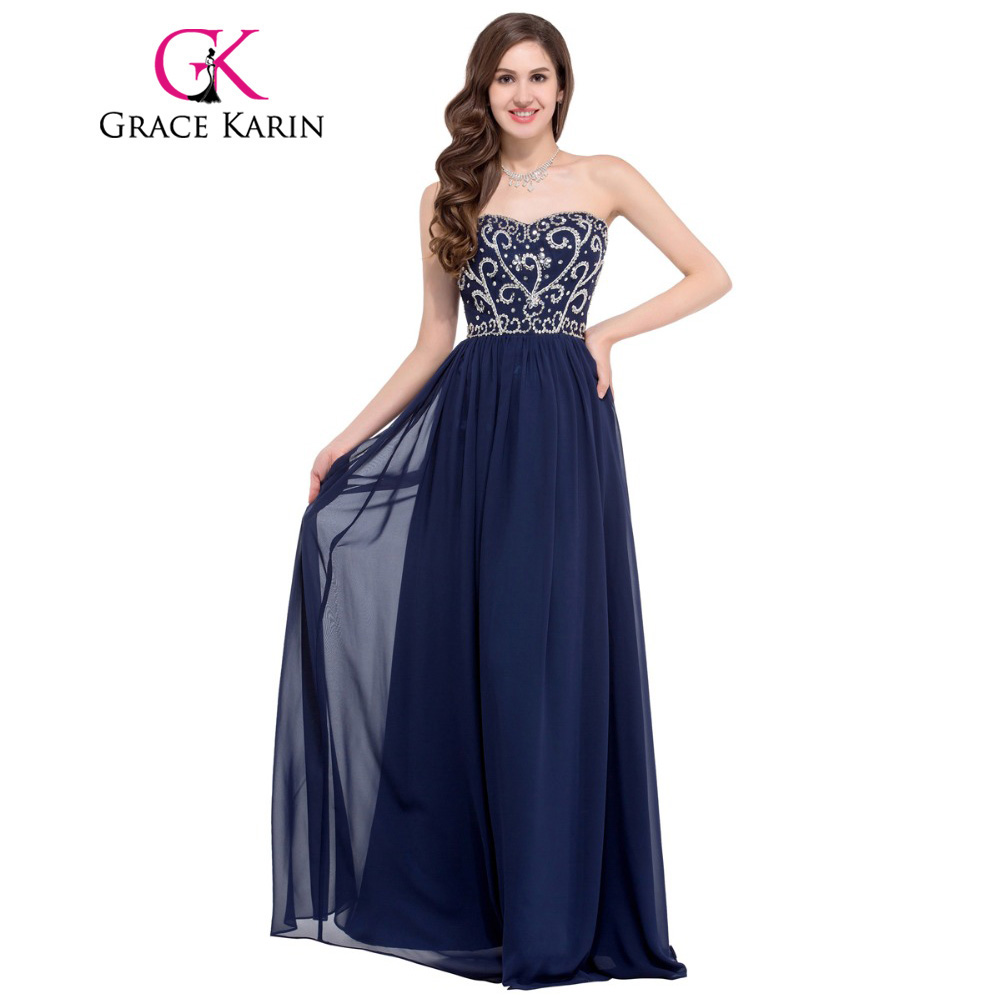 Grace karin 2016 sweetheart elegant long prom dresses black green navy blue red formal gown beaded