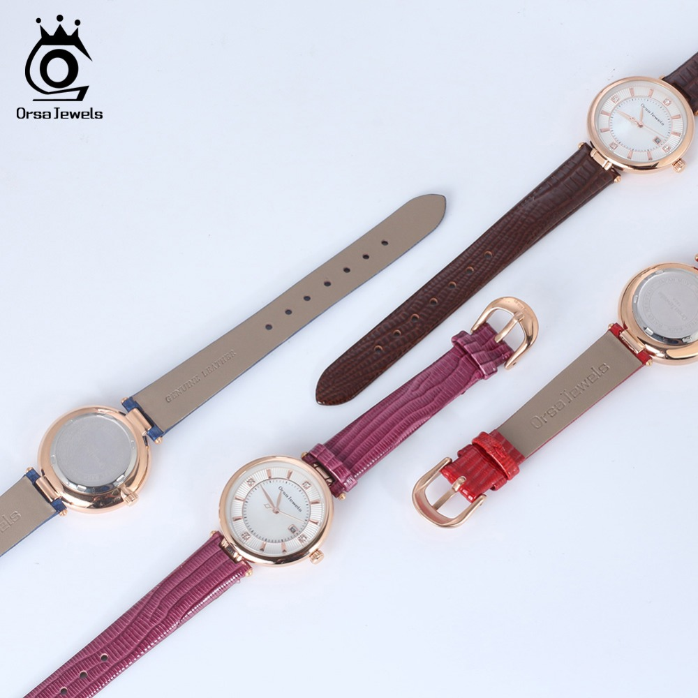 ORSA JEWELS Watches Women Fashion Watch 2019 New Elegant Leather Strap Ultra Slim Wrist Watch Montre Femme Reloj Mujer OW01