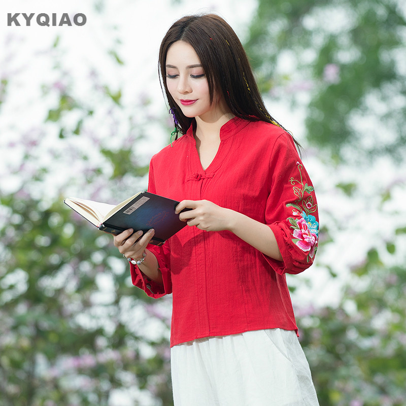 KYQIAO Traditional Chinese clothing 2018 women autumn ethnic three quarter sleeve v neck red white embroidery blouse shirt top