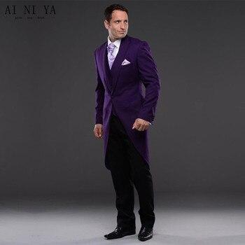New Men Suits Purple Bridegroom 2018 Groom Tuxedo Men Wear Groomsman Best Man Suit Evening Prom Party 3 Piece