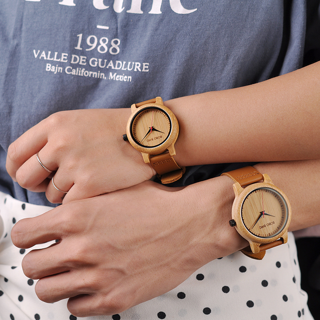 Engraved Watches For Men Women Lovers' Anniversary Engagement Gift Handmade Bamboo Personalized Watch relogio masculino A09A10 5