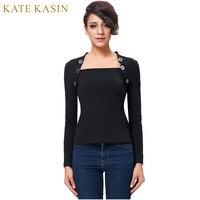 Kate Kasin 2017 Autumn Women S Vintage Bolero Style Long Sleeves T Shirt Buttons Casual Office