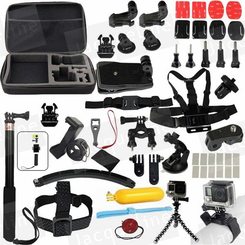 ФОТО Gopro Accessories Set for go pro hero 5 4 3 kit selfie stick monopod for Eken h8r h9r h9/ xiaomi yi EVA case sjcam sj5000 sj6000