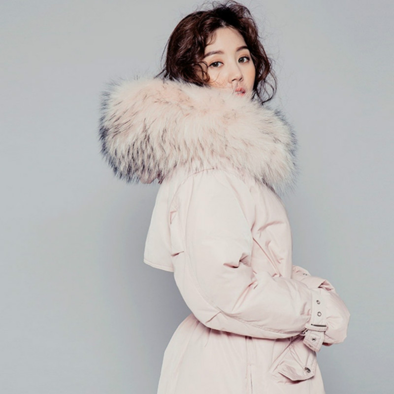 Wholesale New 2017 Womens Down Jackets Fashion Loose Big Fur Collar Outerwear Thicken Pink Black Parka Warm Long Overcoat Snow