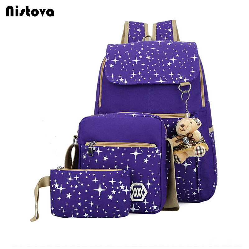 Fashion Composite Bag Preppy Style Backpacks For Teenage Girls High Quality Canvas Schoo ...