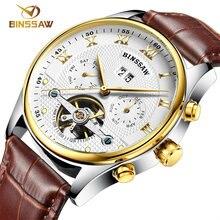 BINSSAW new men leather watch wrist original luxury top brand big automatic  fashion sports Mechanical watches relogio masculino