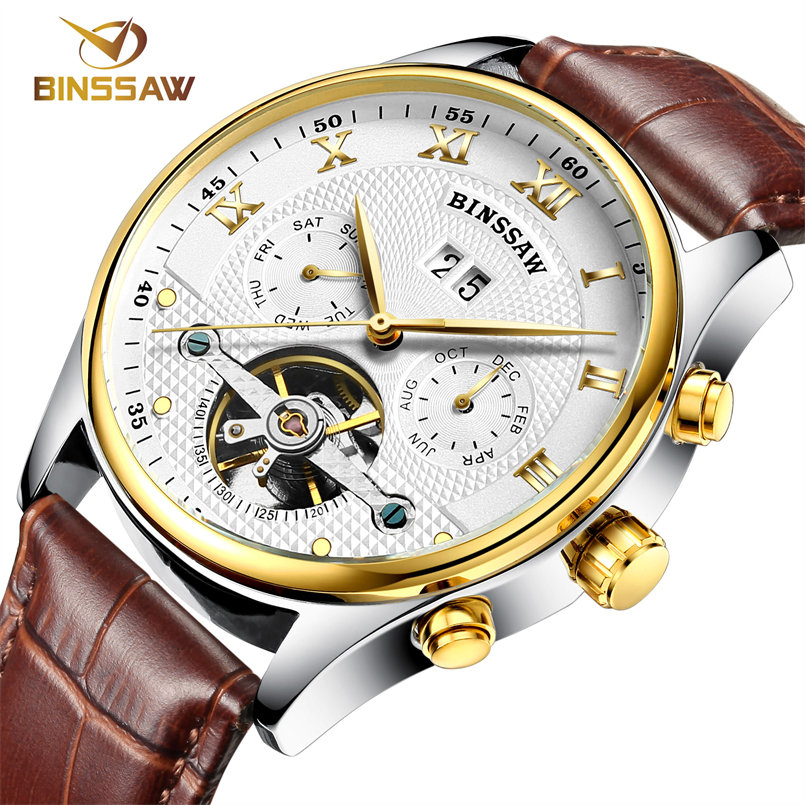 BINSSAW new men leather font b watch b font wrist original luxury top brand big automatic