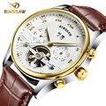 BINSSAW novo relógio de pulso de couro dos homens originais top de luxo da marca big automatic relógios Mecânicos relogio masculino dos esportes da forma