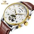 BINSSAW nuevos hombres reloj de pulsera de cuero original de lujo superior de la marca gran automático deportes de la moda relojes Mecánicos relogio masculino