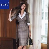 Vintage Plaid Formal Dress Women Elegant Khaki Half Sleeve Bow Patchwork Office Lady Spring Knee length Turn down Collar Dresses
