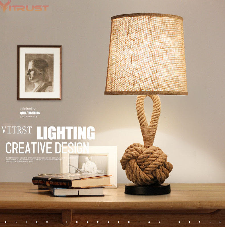 Vitrust Nordic LED Table Lamp Lamparas de mesa Vintage Rope Table Lamps LED Bedroom Lamps Modern Bedside Industrial Reading america water pipe table lamp in loft industrial style led table lamps for bedroom living room abajur lamparas de mesa