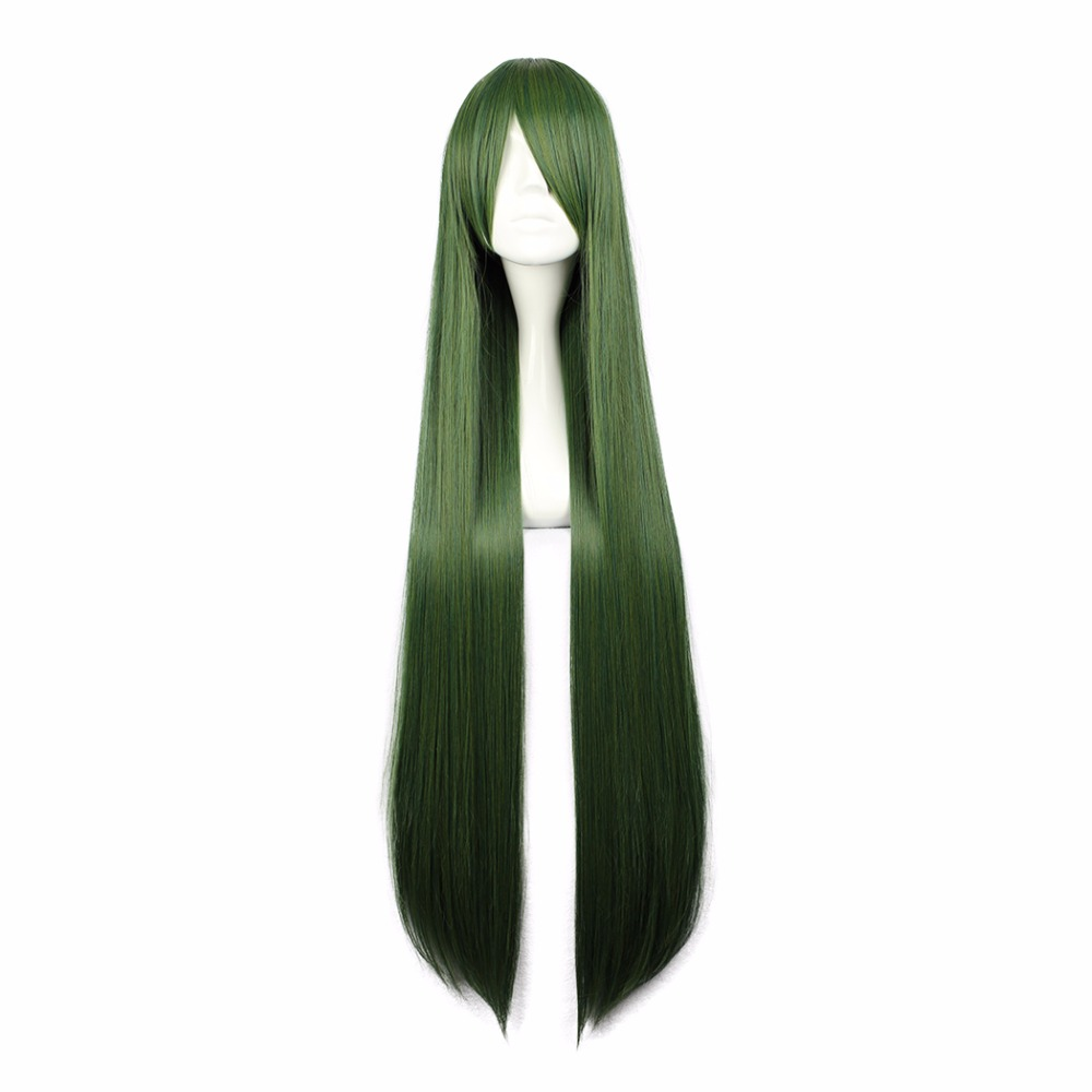 MCOSER  TouhouProject Long Straight Synthetic Green Cosplay Costume Wig 100% High Temperature Fiber Hair