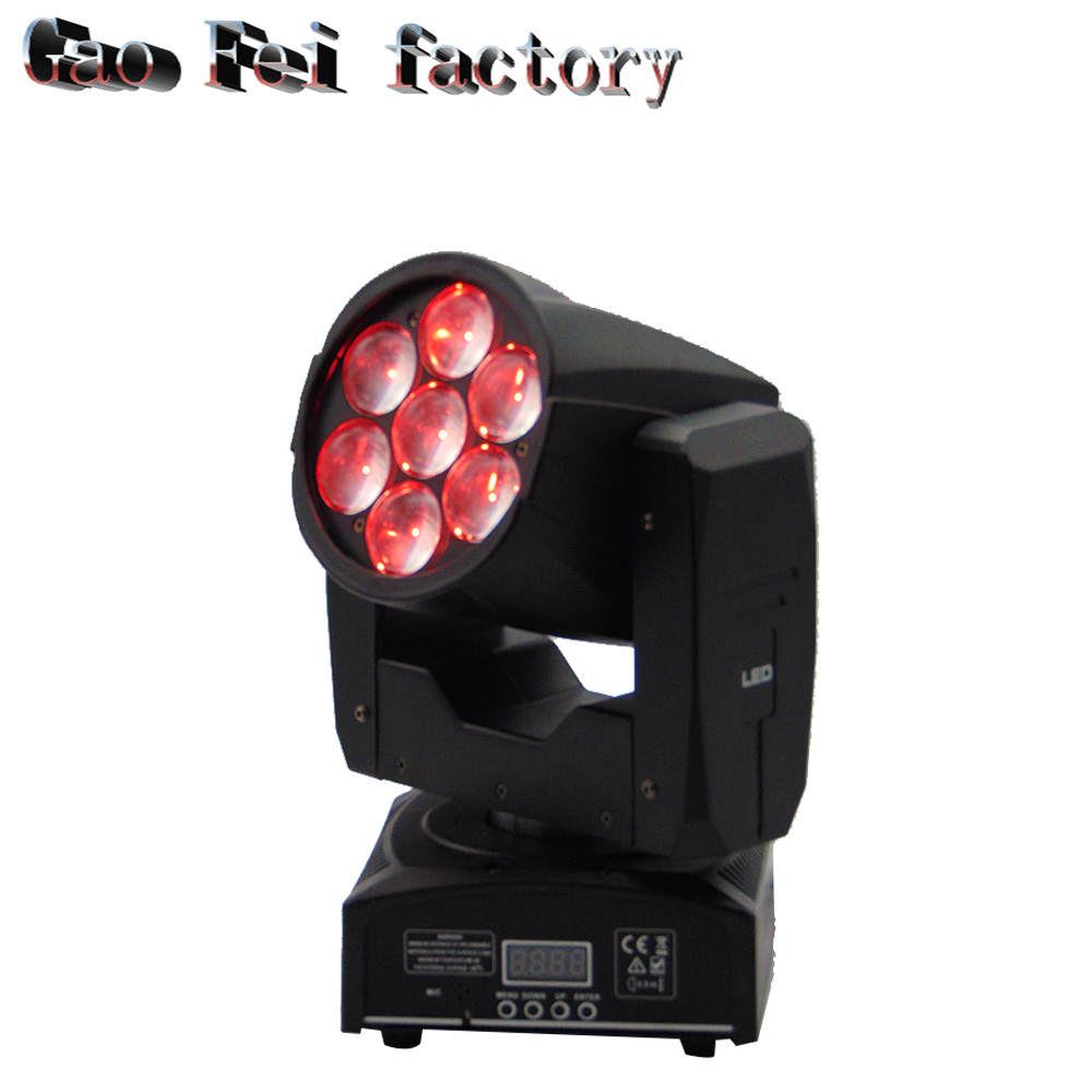 Bee Eye Moving Head Led 7x12W RGBW 4in1 Zoom DMX Stage Light Dj Disco Beam Wash Moving Head Light
