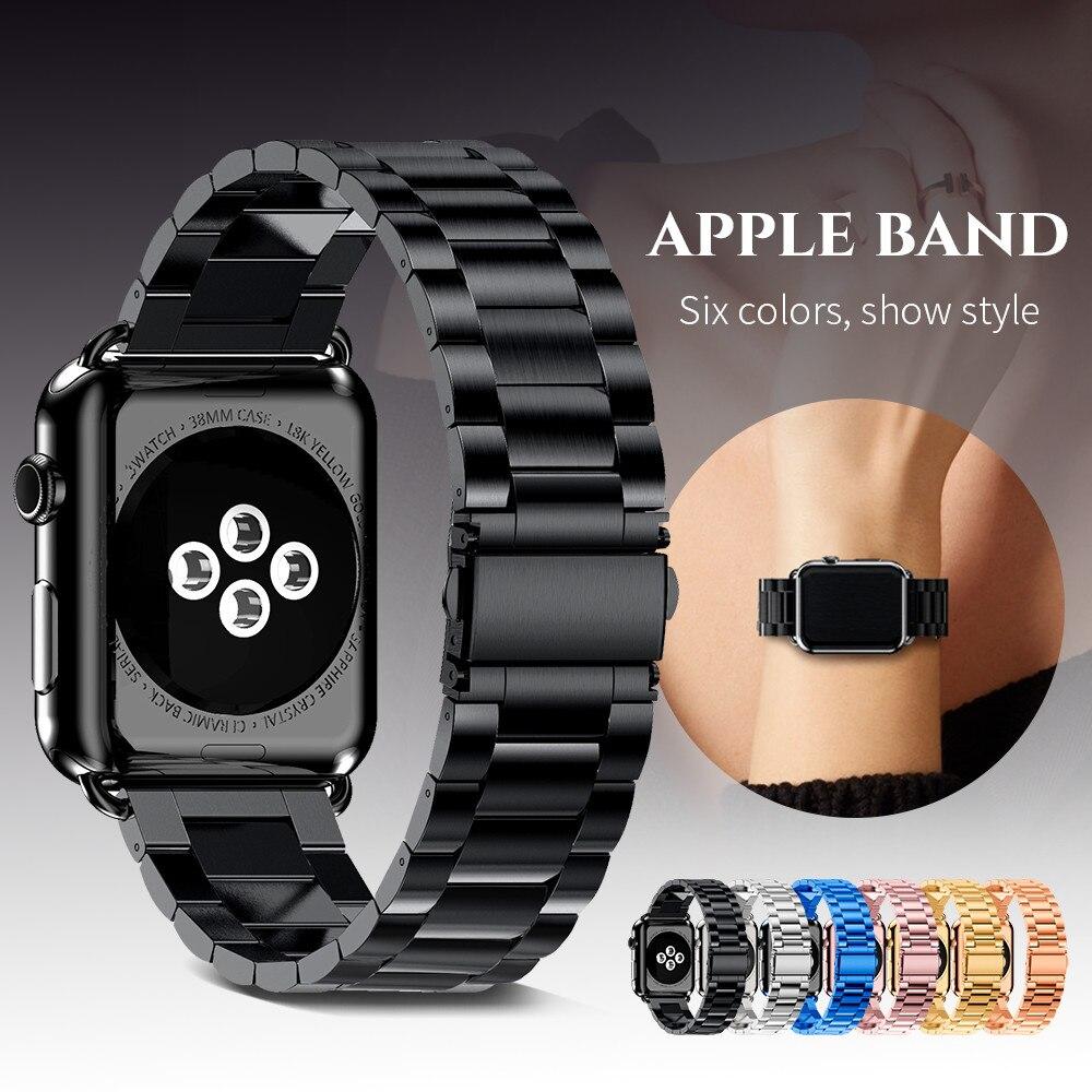 Pulseira de aço inoxidável para apple watch 42mm 38mm 4 3 2 1 pulseira de metal três link pulseira para iwatch série 4 5 40mm 44mm