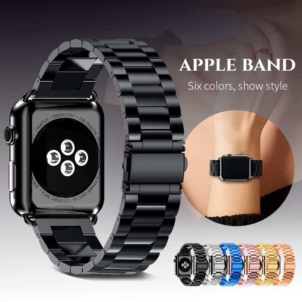 Rustfrit stålrem til Apple Watch 42mm 38mm 4 3 2 1 Metal Watchband Three Link Armbåndbånd til iWatch Series 4 5 40mm 44mm