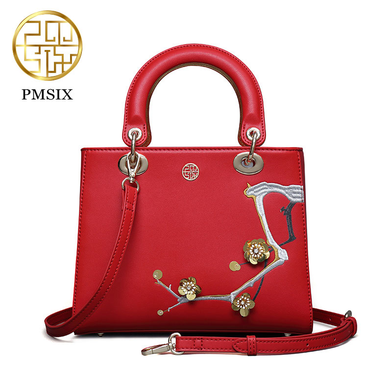 Pmsix 2017 Chinese style new red MIni leather message bags ladies fashion dinner shoulder diagonal embroidery bag P120074