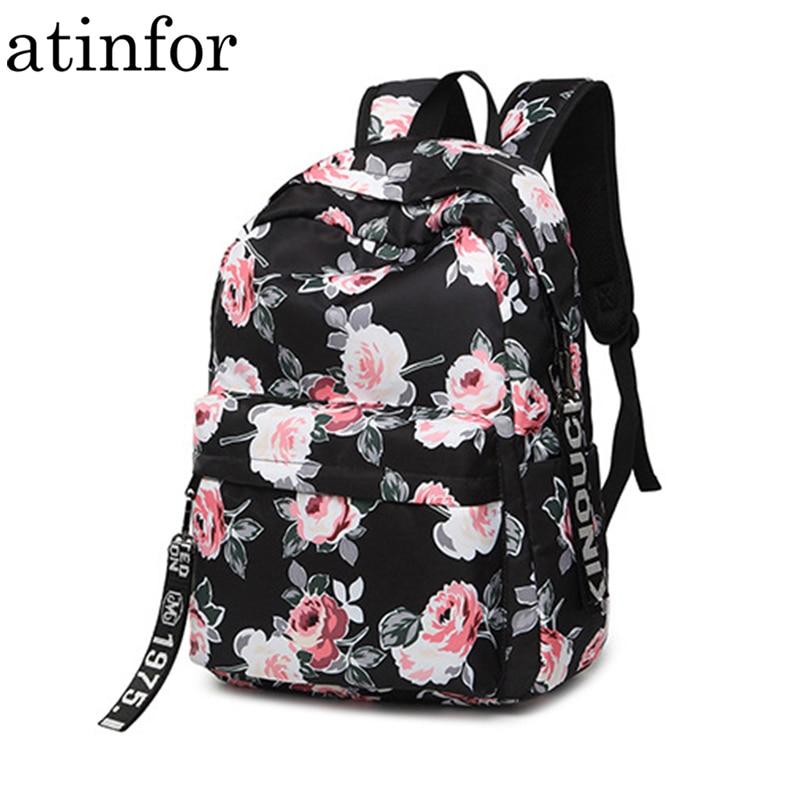 Women Backpack School Rucksack Flower-Printing College Laptop Daily Nylon Female Water-Resistant