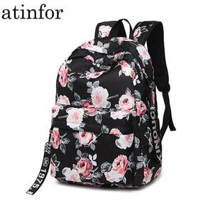 Image 1 - 패션 방수 나일론 여성 배낭 꽃 인쇄 여성 학교 배낭 소녀 일일 대학 노트북 가방