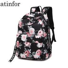 Mochila escolar feminina, mochila de náilon com estampa de flor, resistente à água, feminina, para escola ou faculdade, com espaço para laptop