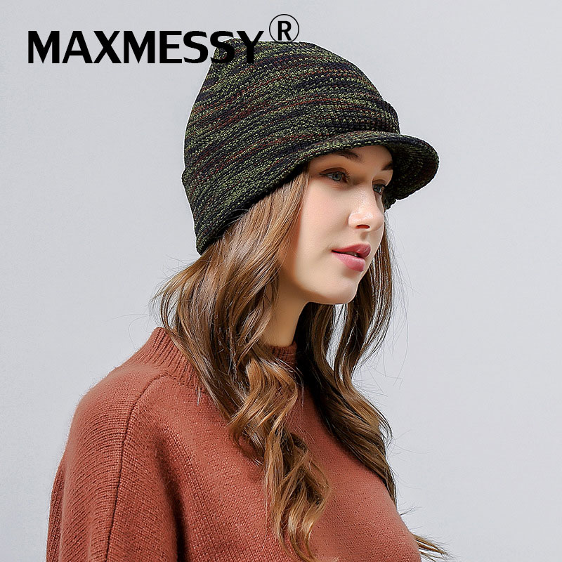 MAXMESSY New Woolen Knitted Baseball Cap Women Snapback Army Skullies Winter Warm Ladies Visor Trucker Hat Bone MH112 new high quality warm winter baseball cap men brand snapback black solid bone baseball mens winter hats ear flaps free sipping