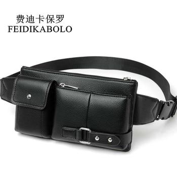 FEIDIKABOLO Men PU Leather Waist Packs Fanny Pack Belt Bag Travel Male Phone Pouch Bags Heuptas Man