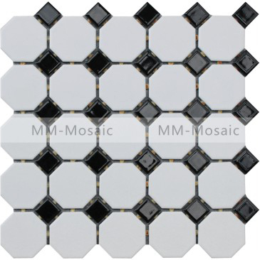 White And Black Glazed Porcelain Ceramic Floor Tile Mosaic Kitchen  Backsplash Tile Bathroom Floor Tiles MM