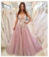 Лори элегантные пикантные Вечеринка платье 2019 Погружаясь 3D цветы светло розовый Формальные Кристалл Bling платья для выпускного вечера вечер