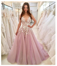 LORIE Elegant Sexy Evening Party Dress Long 2019 Plunging 3D Flowers Light Pink Formal Crystal Bling Prom Dresses Gowns