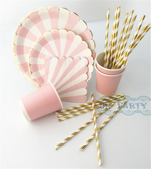 80 Sets Eco-friendly Wedding Table Setting Pink Foil Gold Scallop Paper Plates Floral Pink  sc 1 st  AliExpress.com & 80 Sets Eco friendly Wedding Table Setting Pink Foil Gold Scallop ...