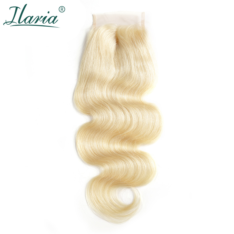 ILARIA HAIR Brazilian Body Wave 613 Blonde Remy Human Hair Lace Closure 4x4 With Baby Hair Transparent Lace Color Bleached Knots