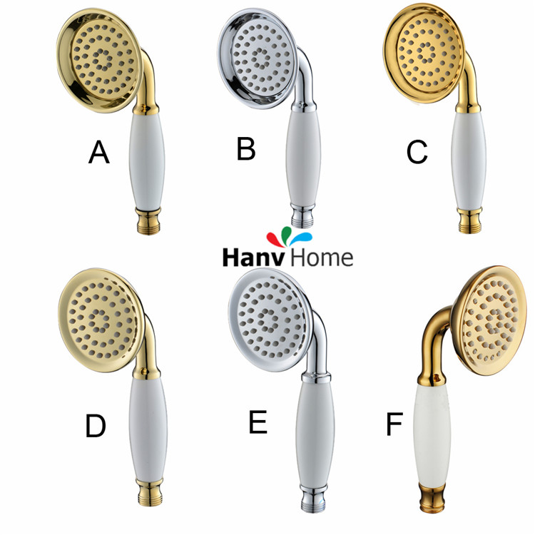 Six Types Brass & Ceramic Classical Telephone Hand Held Shower Head Bathroom Replacement Hand Shower