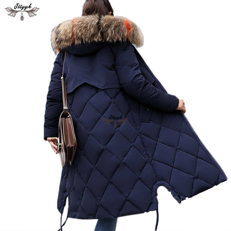 06021264d5c85 Plus Size Winter Women Jacket Coat Big Fur Hooded Warm Winter Parka Jackets  Long Thicken Down
