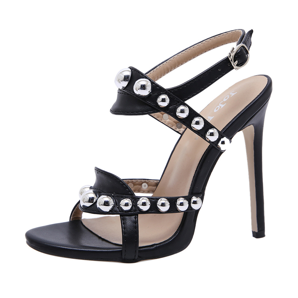 Humble Thin Heels Women Pumps Ankle Cross Strap Sandals Shoes Women's Snake Pattern Stiletto Sexy High Heels Belt Buckle Rivet Sandals Refreshing And Enriching The Saliva Shoes