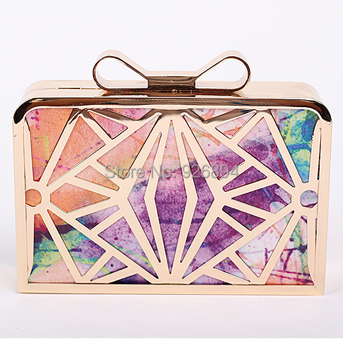 Colorful PU fashion personality hollow metal mini mini bow clutch evening bag lady handbag chain shoulder bag purse 5 colors  2016 fashion mini laser metal chain letters pu leather clutch purse wallet chain messenger bag shoulder bag handbag 6 colors