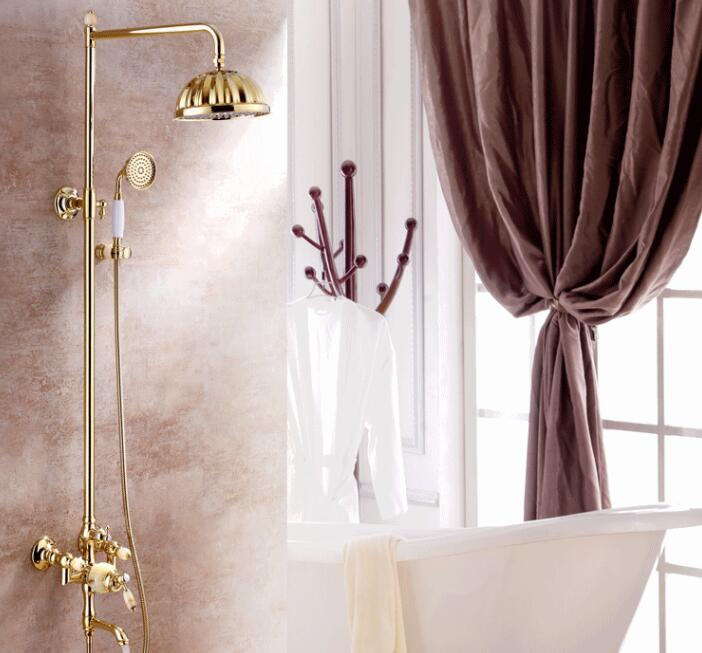 High end European style copper jade multi function rotating shower with bathtub faucet shower XT 501