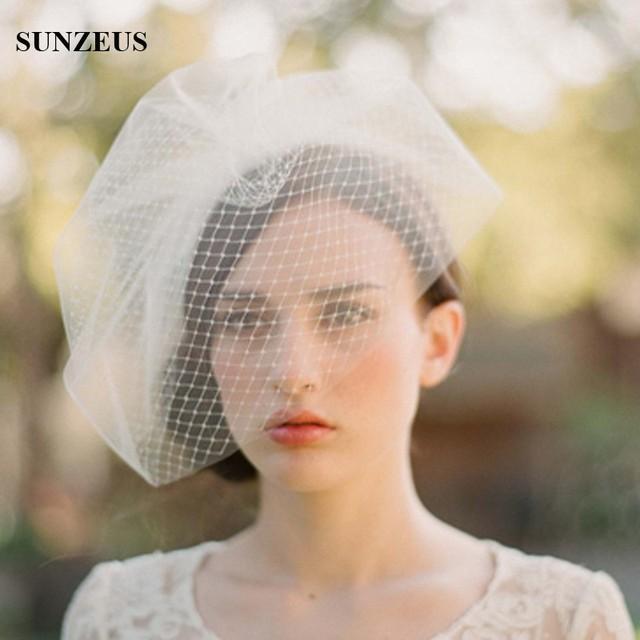 Fashionable Pure Feitas À Mão Branco Duas Camadas de Noiva Chapéu Rosto Elegante Véu Nupcial Festa de Casamento Lindo das Mulheres Chapéus S801