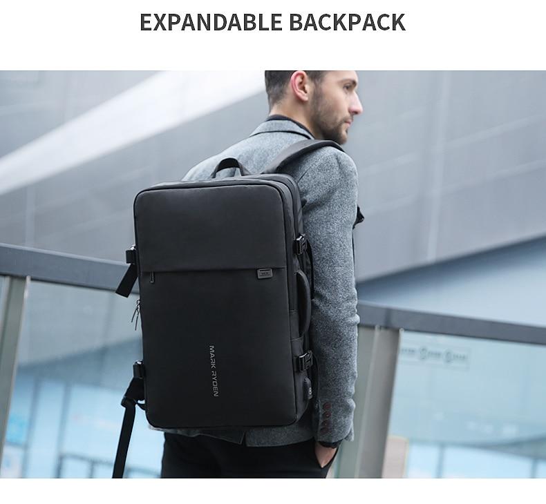 Mark Ryden Man Backpack Fit 17 inch Laptop USB Recharging Multi-layer Travel Bag