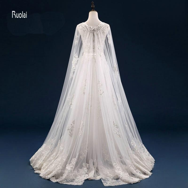 Vestido De Noiva Personalizat Mărgești Aplicații cu maneci lungi - Rochii de mireasa - Fotografie 4