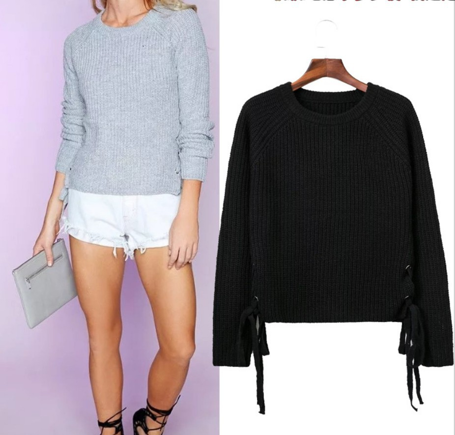 Womens Hedging Sweater Europe Autumn New Design O-neck Long-sleeves Knitted Sweater Fashion Both Sides Lace Wild Warm Femme Top