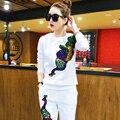 De las mujeres Chándales de Los Trajes Marca Set 2016 Primavera Lentejuelas Elegante Traje Pantalón 2 Unidades Set Mujeres Sudadera Blusa Y Pantalones Conjuntos
