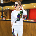 Women Tracksuits Suits Brand Set 2016 Spring Sequin Elegant Pant Suit 2 Piece Set Women Blouse Sweatshirt And Pants Sets