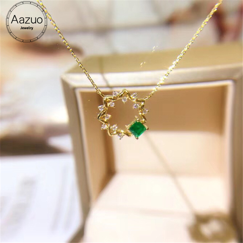 Aazuo Real 18K Yellow Gold Jewelry Natural Emerald Real Diamond IJ SI Round Fairy Free Pendent
