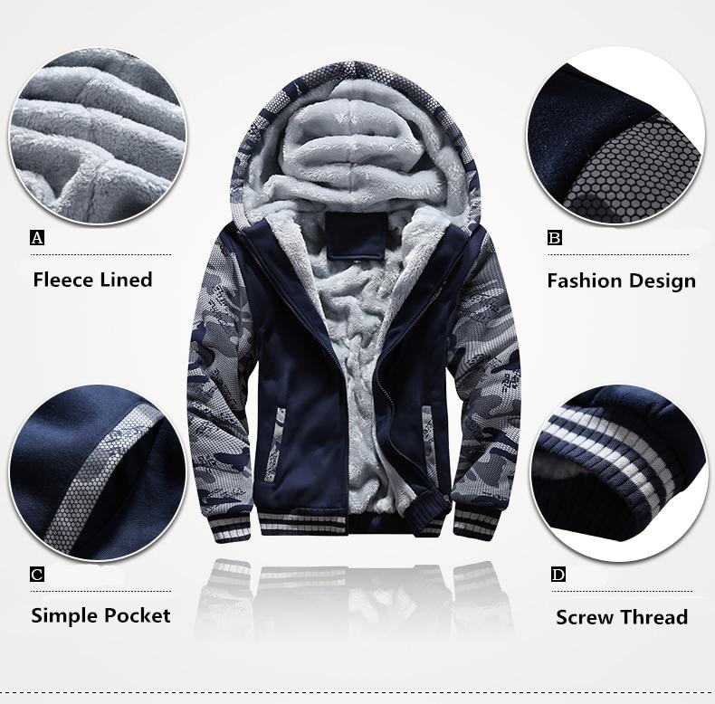 Winter Inner Fleece Hoodies Men Casual Hooded Warm Sweatshirts Male Thicken Tracksuit 2PC Jacket+Pant Men 25