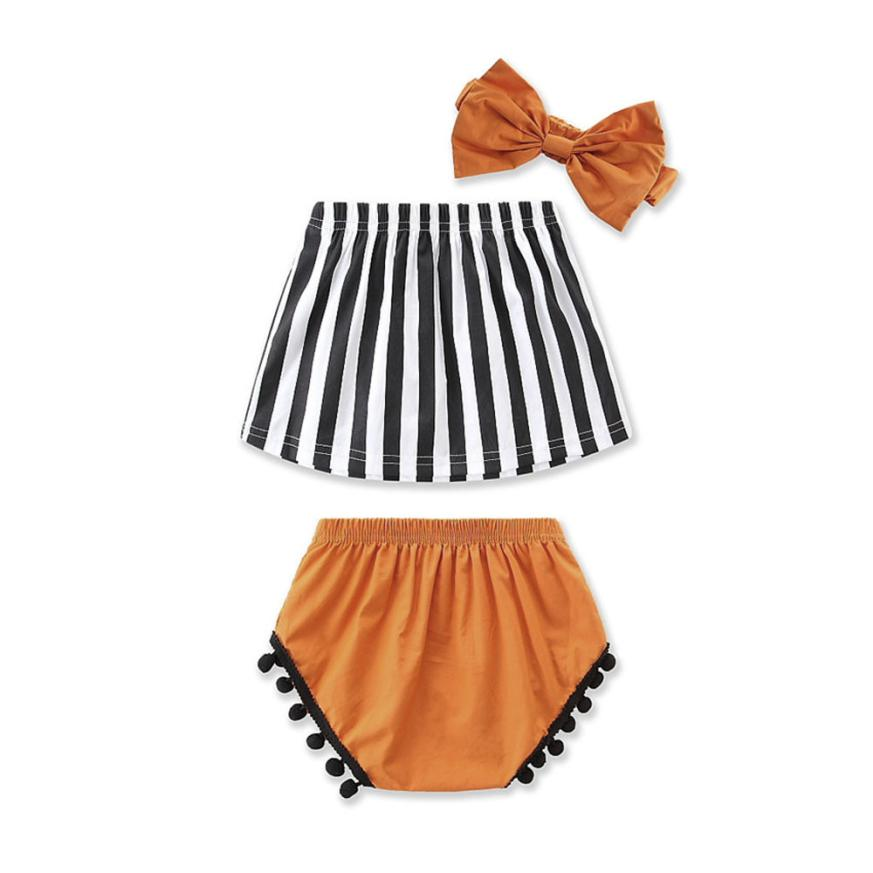 Newborn Girl Boys Clothes Sets Kids Toddler Baby Girls Stripe Crop Top Blouse +Pants Headband Outfits Casual Kids Children Suits finejo baby girls kids blouse jeans pants casual clothes sets suit outfits